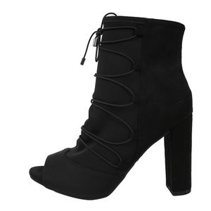 Shoes - Black Elastic Lace Up Lycra Front Faux Suede Boot